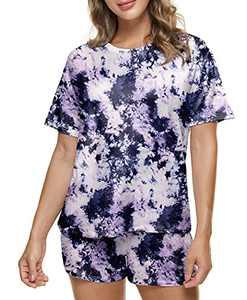 HugeHorns Womens Pajamas Set Tie Dye Printed Short Lounge Set Short Sleeve Tops and Shorts 2 Piece Sleepwear Pj Sets with Pockets(XL,Marble Purple)