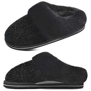 jiajiale Orthopedic Womens Fluffy Plantar Fasciitis Arch Support Christmas Orthotic Pantuflas Memory Foam Slippers Ladies Cozy Furry Fur Slip on Winter Bedroom Shoes Home Non Slip Hard Sole Black 5