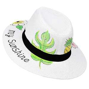 Sowift Women Panama Straw Sun Hats Hand-Drawn Summer Caps Brim Beach Summer UV Hat Papyrus Women's Hats UPF 50+ Protection