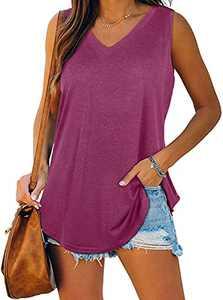Cysincos Womens Tank Tops V Neck T Shirts Sleeveless Tops High Low Tanks Wine