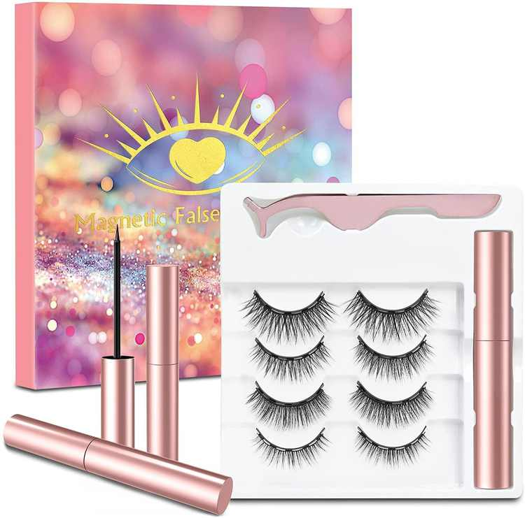 4 Pairs Magnetic Eyelash and Magnetic Eyeliner Kit,Waterproof Magnetic Eyelashes and No Glue,3D Magnetic Lashes Look Natural and Reusable,Including 1 Wearing tools and 1 Magnetic Eyeliner