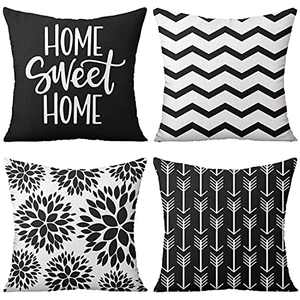 flySpacs Black Decorative Pillow Covers 18x18 Set of 4,Geometric Linen Pillow Cover for Living Room Couch Farmhouse Patio Indoor Outdoor Home Decoration