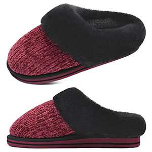 jiajiale Womens Fluffy Double Memory Foam Slippers Ladies Cozy Fuzzy Faux Fur Slip on Warm House Shoes with Arch Support Indoor Outdoor Non Slip Hard Sole Red 6