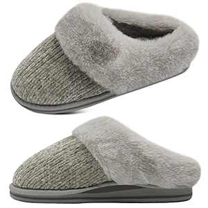 jiajiale Womens Fluffy Double Memory Foam Slippers Ladies Cozy Fuzzy Faux Fur Slip on Warm House Shoes with Arch Support Indoor Outdoor Non Slip Hard Sole Grey 6
