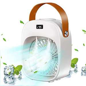 Portable Air Conditioner Fan, Evaporative Air Cooler Fan with 3 Speeds & 2 Misting Modes, Double Spray Humidifier, Night Light, Reduce Dryness & Quiet Suitable for Bedroom, Office and Home - White