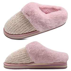 jiajiale Womens Fluffy Double Memory Foam Slippers Ladies Cozy Fuzzy Faux Fur Slip on Warm House Shoes with Arch Support Indoor Outdoor Non Slip Hard Sole Pink 8.5