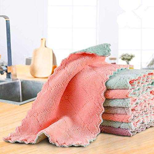 WXYBBD 12 Pack Kitchen Cloth Dish Towels, Premium Dishcloths, Super Absorbent Coral Velvet Dishtowels, Nonstick Oil Washable Fast Drying