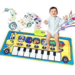 Musical Mat for Toddlers 1-6 Years Old, Baby Kids Piano Mat Floor Walking Touch Dancing Playmat, 5 Animal Voices 5 Modes 8 Piano Scales, Early Education Toys Gifts for Boys Girls (39.3X15.7in)