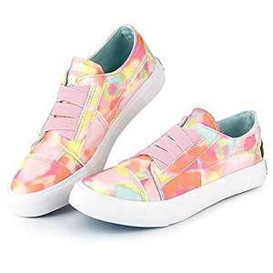 JENN ARDOR Women's Fashion Canvas Shoes Low Top Slip On Sneakers Comfortable Walking Shoes