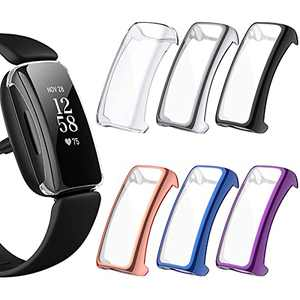 EZCO 6-Pack Screen Protector Case Compatible with Fitbit Inspire 2(Not for Inspire, High HD All Around Protective Watch Face Cover Bumper Frame Case for Inspire 2 Smartwatch