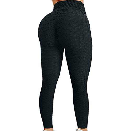 Colorful Women's High Waist Yoga Pants Butt Lifting Tummy Control Slimming Booty Leggings For Women Plus Size Stretch S1-black S