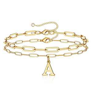 Hidepoo Gold Initial Bracelets for Women, 14K Gold Plated Layered Initial Charm Bracelets Personalized Paperclip Link Chain Letter A Gold Initial Bracelets for Women Girls Jewelry Gifts (A)
