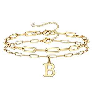 Dainty Gold Initial Bracelets for Women, Layered Paperclip Link Chain Letter Initial Bracelets 14K Gold Plated Handmade Charm Bracelets B Initial Gold Bracelets for Women Girls Jewelry Gifts (B)