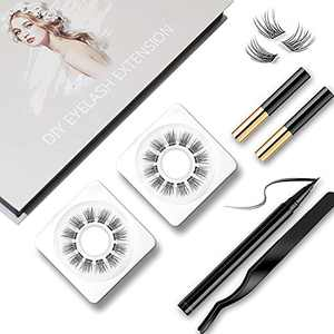 DIY Eyelash Extension Kit, 3D Effect Glue Bonded Band Individual Lashes 24 Clusters Volume Lashes Pack for DIY Home Eyelash Extension and Salon Use, C curl Lash Pack with Sensitive Cluster Lash Glue