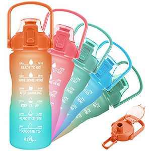 PASER 32oz Motivational Water Bottle with Time Marker & Handle, Fast Flow Tritan BPA Free Portable Reusable Water Jug (1L) Ensure Kids Women Men Drink Enough Water Daily