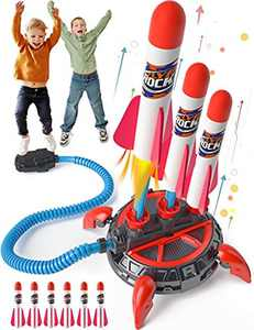 HOPOCO Toy Rocket Launcher for Kids, Upgrade 3 Continuous Shots Launcher Design, Jump Rocket Launcher with 6 Foam Rockets, Fun Outdoor Toy for Boys Girls, Gift Toys for Boys & Girls Age 3+ Years Old