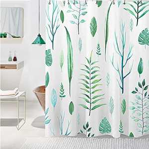 Virtumob Nature Plant Shower Curtain Sets, Tropical Leaf Shower Curtain with Hooks, Waterproof Shower Curtain, White and Green, 72W X 72L