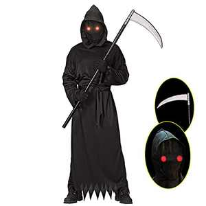 Grim Reaper Halloween Costume with Glowing Red Eyes for Adult, Scythe Included