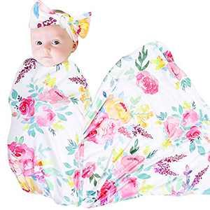Stretchy Baby Swaddle Blanket Girl Receiving Blanket Headband Set Large Infant Sleeping Wrap Blankets Watercolor Flower