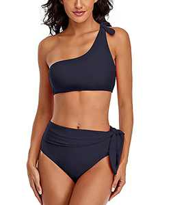 SELINK Women High Waisted One Shoulder Swimsuit Bathing Suits 2 Piece Bikini Set Navy Blue M