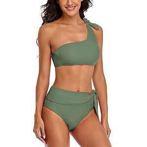 SELINK Women High Waisted One Shoulder Swimsuit Bathing Suits 2 Piece Bikini Set Green L
