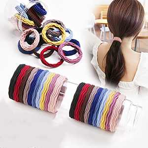 100PCS Hair Ties with Seamless High Elastic Thickening in Ponytail Holders Multiple Colors (Color)