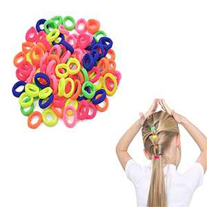 100Pcs Baby Hair Ties for Girls, Elastic Toddler Hair Ties for Kids, Small Seamless Hair Ties , Multicolor Elastic Hair Bands, Soft Hair Accessories Ponytail Holders