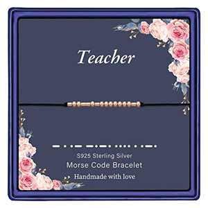 IEFWELL Class of 2021 Graduation Gifts for Women, S925 Sterling Silver Beads Teacher Morse Code Bracelet Teacher Gifts Graduation Gifts for Teacher Graduation Gifts for Her 2021