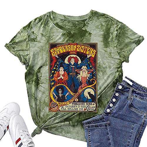T&Twenties Halloween Shirt for Women Hocus Pocus Casual Tee Shirt Funny Sanderson Sisters Graphic Tee Tops