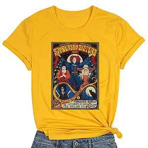 T&Twenties Halloween Shirt for Women Hocus Pocus Casual Tee Shirt Funny Sanderson Sisters Graphic Tee Tops Yellow