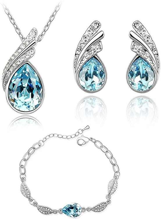 Crystalline Azuria Women 18 ct White Gold Plated Teardrops Crystals from Swarovski Blue Simulated Aquamarine Set Necklace Stud Earrings Bracelet
