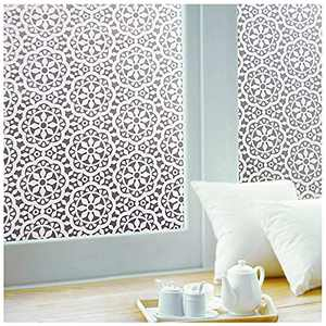 Privacy Window-Film Non Adhesive Glass Window-Sticker Paper Static Cling Decorative Snowflake Pattern Flower Decal Panel 11.8 x 78.7 Inches