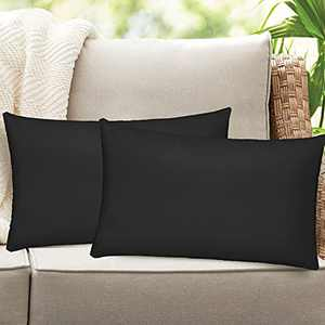 Homthumb Outdoor Pillow Covers 12x20 inch,Waterproof Decorative Throw Cushion Case Pillowcase for Patio Garden Furniture Couch Bench Tent - Pack of 2 Pillow Covers Black