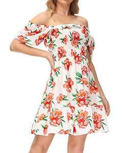 LIUMILAC Hawaiian Dress for Women Square Neck Floral Dress Short Sleeve Summer Mini Dress