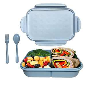 Kids Bento Box, ASYH Mom's Choice 3 Compartment Lunch Box with Fork Spoon, Leakproof Eco-Friendly Lunch Containers for School Office, BPA Free and Microwave Safe (Blue-1150ML)