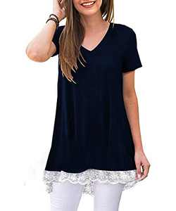 Eshavee Casual Summer Tops for Women V-Neck Short Sleeve Blouses Lace Tunic Loose T Shirts Navy Blue