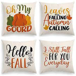 INSHERE Hello Fall Pumpkin Decorative Throw Pillow Covers - Cotton Linen Cushion Cover Autumn Farmhouse Cushion Case for Couch Bed Sofa 18 x 18 inch (Fall 7)