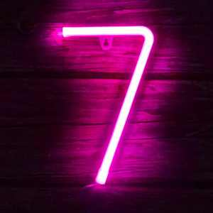 Light up Letters Neon Signs Lights for Bedroom Wall Decor, USB or Battery LED Neon Night Light Wall Decoration for Birthday, Party, Bar, Dorm, Men Cave, Girls, Kids Room Words Pink Number 7