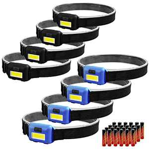8 Pack Led Headlamp Flashlight for Adults and Kids, 1.1oz/31g COB Flood Light Ultra Bright Head Lamp with 3 Modes 24 AAA Batteries, Waterproof Work Headlight for Family Camping Running Reading Jogging