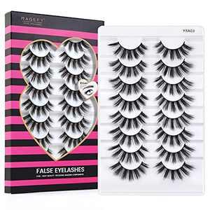 MAGEFY Lashes 8 Pairs Eyelashes Natural Look Faux Mink Lashes Pack 3D Handmade Soft Reusable Fluffy False Eyelashes ( 03 )