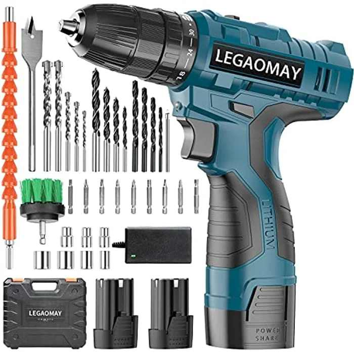 """Cordless Drill with 2 Batteries, Charger & Cleaning Brush, 16.8V Drill Screwdriver Set 37Pcs (2x1500mAh Batteries, 30Nm Max, 2 Speed, 30+1 Torque, 3/8"""" Chuck, LED Light) for Home DIY Project"""