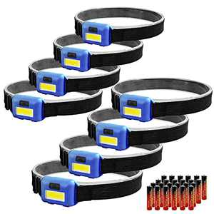 8 Pack Led Headlamp Flashlight for Adults and Kids, 1.1oz/31g COB Flood Light Ultra Bright Head Lamp with 3 Modes 24 AAA Batteries, Waterproof Work Headlight for Family Camping Running Reading - Blue