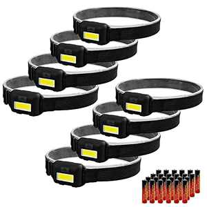 8 Pack Led Headlamp Flashlight for Adults and Kids, 1.1oz/31g COB Flood Light Ultra Bright Head Lamp with 3 Modes 24 AAA Batteries, Waterproof Work Headlight for Family Camping Running Reading - Black