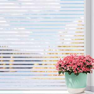 Privacy Window Film Non-Adhesive Window Film Static Cling Frosted Stripe Window Sticker No Glue Glass Film Anti-UV Opaque Decoration for Bedroom Kitchen Office, 11.8 x 78.7 inch