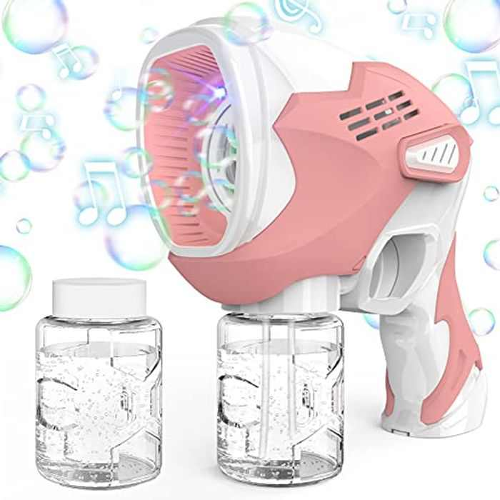 KIMILAR Bubbles Machine for Kids, Electric Bubble Gun with Music for Indoor Outdoor Camping Birthday Wedding Party, Bubble Maker for Children 3+ Years Old, Batteries Powered (Included)