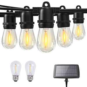 Solar String Lights Outdoor Garden Edison Lights Outdoor String 48ft with 15+2 LED Bulbs for Home Patio Backyard Holidays Halloween Chirstmas Thanksgiving Gifts Solar and USB Powered 2700K Warm White