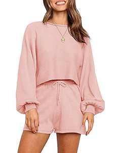 SYZRI Women's 2 Piece Knit Outfits Puff Sleeve Crop Top Shorts Set Sweater Sweatsuit Pink