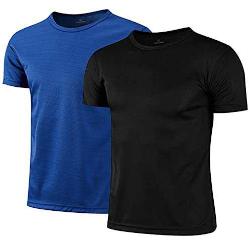 Mens 2-Pack T-Shirt Short Sleeve Athletic Gym Workout Quick Dry Fit Crew Neck Black/Dark Blue 2X