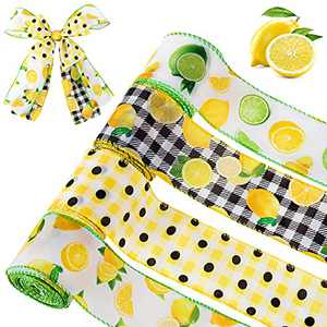 """4 Pack 24 Yard Lemon Burlap Wired Edge Ribbon Spool- 2.5"""" Wide Polka Plaid Gingham Check Lemon Linen Ribbon Decorative Gift Wrapping Butterfly Bow Ribbons for Spring Summer Wreaths DIY Crafts Making"""