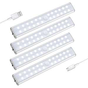24 LED Closet Lights, USB Rechargeable Motion Sensor Light with Magnetic Stick on Anywhere Lighting, 1000mAh Battery Powered Cupboard Night Lights for Stairs, Wardrobe, Hallway (4 Packs)